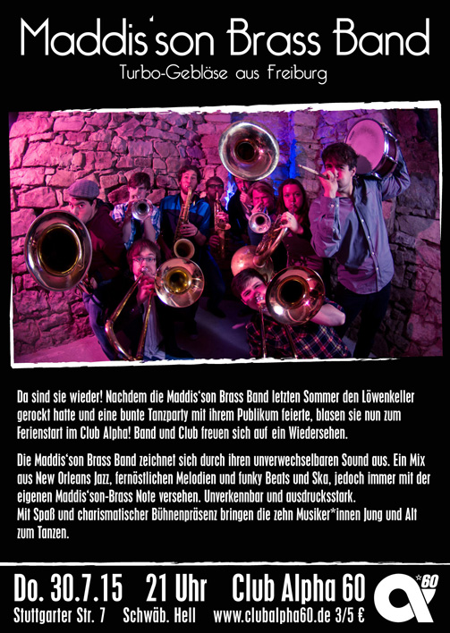 Donnerstag, 30.07.15: Maddis'son Brass Band