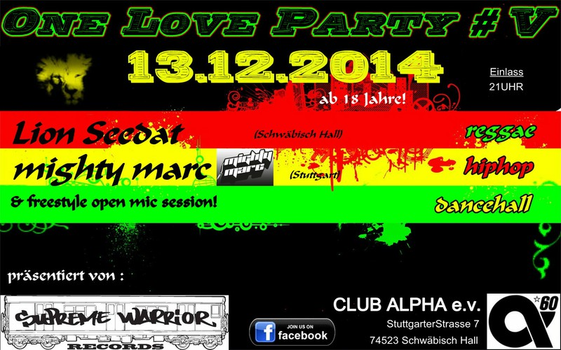Samstag, 13.12.: Supreme Warrior Records: ONE LOVE - Partynight # V