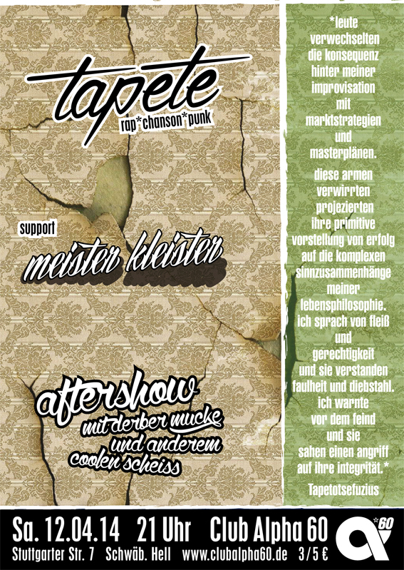 12.04.: TAPETE + support + Drum´n´Bass-Aftershow